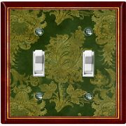 Metal Light Switch Cover Wall Plate Elegant Green Red Flowers Fra041