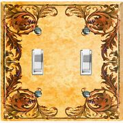 Metal Light Switch Cover Wall Plate Elegant Yellow Damask Frame Fra048