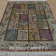 Yilong 4and039x6and039 Hand Knotted Silk Rugs Four Seasons Family Room Carpet 0636