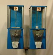 Vintage Astro Oak Double Vending Gum Ball Candy Coin Op Stand Up .25 Machine