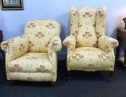 Pair Victorian His And Hers Matched Armchairs Reupholstered In Macintosh Style