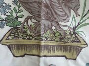 Perfect For Pillows Asian Inspired Vintage 1940's Barkcloth Bonsai Tree Peonies
