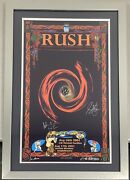 Rush Signed Concert Poster Le Houston Andlsquo02 Peart Lee Lifeson Autograph Jsa Framed
