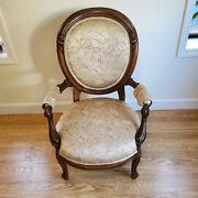 French Provincial Louis Xv Hand Carved Wood Bergere Armchair Chair