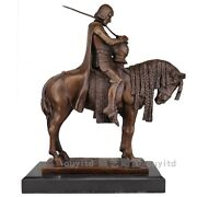 15and039and039 Art Deco Sculpture Cavalry Knight Warrior Ride Horse Bronze Statue