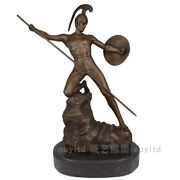 16and039and039 Art Deco Sculpture Warrior Soldier Hold Spear Shield Bronze Statue