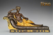20and039and039 Art Deco Sculpture Princesse Marie Lying Woman Painted Statue Figurine