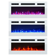 Electric Fireplace Heater Wall-mounted 3-color Led Flames White 31.50-inch