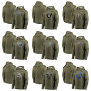 Menand039s 2019 Sweatshirt Olive Salute To Service Sideline Therma Pullover Hoodie