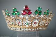 Elegant Antique French Religious Gilded Brass Bejeweled Tiara Crown Statue Doll