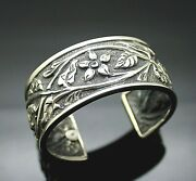Authentic Silpada Darkened Bckg Repousse Floral Sterling Silver 7 Cuff Bracelet