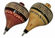 Ier Mexican Trompos - 2 Pack Wooden Spin Tops Metal Tips Made In Mexico Premi...
