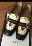 Peyton Double G Black Gold Heart Leather Mid-heel Loafer Size 37.5 / 7.5