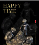 Art Deco Sculpture Happy Time 3 Kids Boy Play Sands Bronze Statue