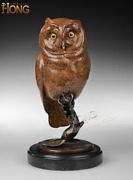 Art Deco Sculpture Owl Stand On The Branch Bronze Statue