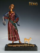 Art Deco Sculpture Woman Lady With Puppy Dog Bronze Statue