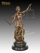 Art Deco Sculpture Woman Goddess Of The Justice Hold Sword Bronze Statue