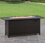 Outdoor Garden Patio Fire Pit Gas Propane Rectangular Heater With Cover 57