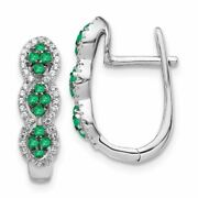 14k White Gold Diamond And Emerald Earrings, 0.20ctw Msrp 1149