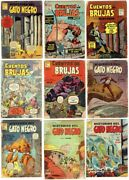 Lot Of 9 Mexican Horror La Prensa 50and039s Witch Tales And Black Cat In Spanish Mexico