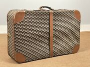 Goyard Vintage Rare Fabric Upholstered Hard Suitcase Trunk With Clean Interior