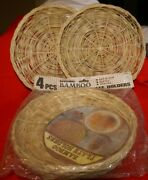 6 Vintage Bamboo Paper Plate Holders 9 D 4 New In Bag 2 Used