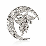 Vintage Diamond Crescent Moon And Leaf Pin In 18kt White Gold