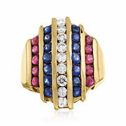 Vintage Multi-gemstone And Diamond Multi-row Ring In 14kt Gold Size 7.5
