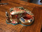 Hand Painted Die Cast Metal Ash Tray And Lighter - Cigarette Music Box - Japan