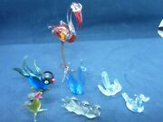 Murano Vintage Glass Animals Birds X 7 Swans Stork Chick 3 Others 60s 80s
