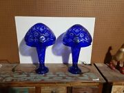 Bohemian Style Cut To Clear Glass Table Lamp With Lighted Base Cobalt Blue Pair