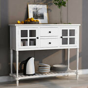 Wood/glass Sideboard Buffet Console Table W/shelf Drawers Cabinets Dining Room