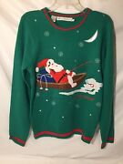 Jolly Sweaters Santa Gone Fishing Menand039s Small Ugly-christmas Sweater Womanand039s M