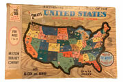 1961 United States Map Puzzle By Milton Bradley Good Cond Missing Puerto Rico