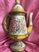 Hand Painted Teapot From Italy. Veneto Flair. 10.5 Tall. Excellent Ornate