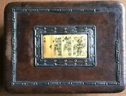 William Davenport 1908 Silver, Leather Hand Painted Playing Card Box Birmingham