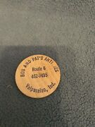 Vintage Bob And Pats Antiques Wooden Nickel Advertisement Valparaiso Indiana