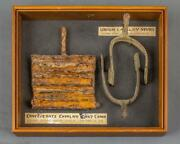 Civil War Union Cavalry Spurs And Confederate Curry Comb In Shodow Box