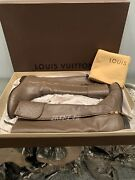 Louis Vuitton Empreinte Tall Boots Taupe Embroidered Logo Shoes Heels 39 8.5/9