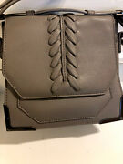 Lionel Los Angeles Leather Gray Braided Front Small Handbag Purse Nwot
