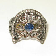 Pave Diamond Sapphire Cocktail Ring 925 Sterling Silver Antique Fine Jewelry Dj