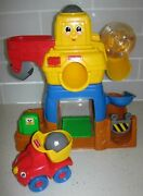 Vtg Fisher Price Happy Crane Construction 71223 Rock Quarry Truck And Rocks
