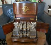 19th Century Antique French Liqueur Box With Crystal Glasses And Decanters