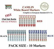 White Board Marker Pens Camlin Refillable Color Black Red Blue + Refill Ink Free