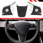 For 17-21 Tesla Model 3 And Model Y Glossy Carbon Fiber Steering Wheel Trim Covers