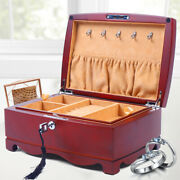 High Class Wooden Jewelry Organizer Necklace Dressing Table Display Box+lock Us