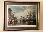John Stobart South Street New York In 1880 Print W/signed Stobart Book Include