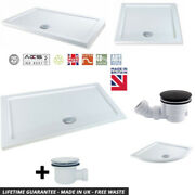 White Stone Resin Rectangle Low Profile Slim Shower Tray 40mm High And 90mm Waste
