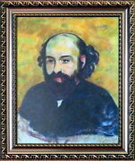 Paul Cezanne Great Original Mixed Media On Paper Art Painting Signed / Framed.