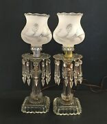 2 Vintage Hanging Prism Table Lamps Square Base Clear Frosted Globe 14.5 High